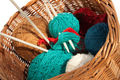 The brown pad with knitting Stock Photography