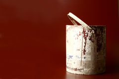 Brown paint bucket. Brownish red paint in an old used bucket Stock Photos