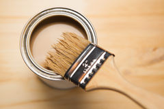 Paint can and brush Royalty Free Stock Photo