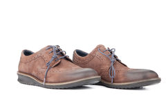 Brown pair leather shoes. For men Stock Photos