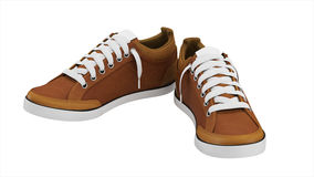 Brown pair of sport sneakers stock photo