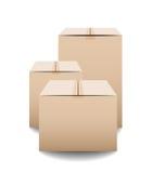 Brown pakuje pudełka odizolowywających na białym tle zamykał karton dostawę Fotografia Royalty Free