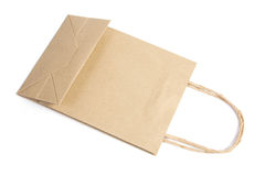 Brown paper bag. Recycle brown paper bag on white isolated Royalty Free Stock Image