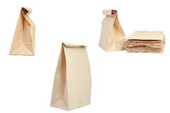 Brown paper bag. On isolated Stock Photo