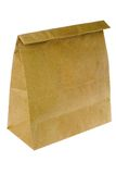 Brown paper bag. Isolated on white background Royalty Free Stock Photo