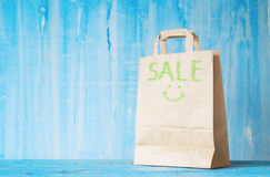 Brown paper bag with caption Stock Photo
