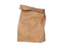 Brown paper bag closed standing isolated on white Stock Photography