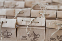 Brown paper bag folded package. Closeup Stock Image