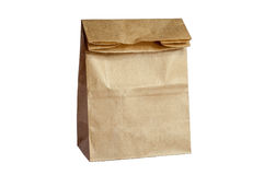 Brown Paper Bag Lunch(with clipping path) Stock Photos