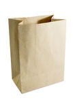 Brown paper bag. Open on top Stock Photography