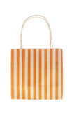 Brown paper bag orange stripes isolated on white Stock Photography