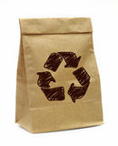 Brown paper bag with recycle sign Royalty Free Stock Photo
