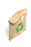 Brown Paper Bag with Recycle Symbol. On White Background Royalty Free Stock Photography