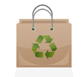 Brown paper bag with recycle symbol Stock Image