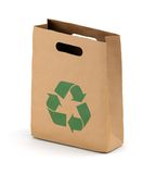 Brown paper bag with recycling symbol Royalty Free Stock Images
