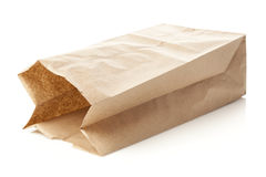 Brown Paper Bag Sack Lunch. On a background Stock Image