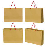 Brown paper bag set Stock Images