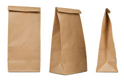 Brown paper bag set. Isolated on white background Stock Photos