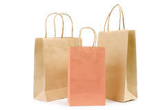 Brown paper bag on white background Royalty Free Stock Image