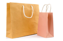Brown paper bag on white background Stock Photo