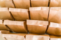 Brown paper bags on table . Stock Photography