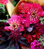 Brown Paper Bouquets. Lush fall flower bouquets wrapped in brown paper punctuate the grower's market with bursts of vibrant color Royalty Free Stock Photo