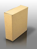 Brown paper box. On reflect white background Royalty Free Stock Images