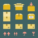 Brown paper box icons set Royalty Free Stock Photo