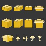 Brown paper box icons set Stock Photography