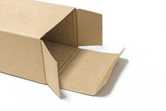 Brown paper box opened. Isolate on white background Stock Images