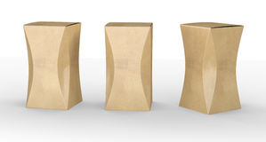 Brown paper box package with curve, clipping path included Stock Photos