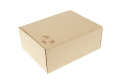 Brown paper box with recycle symbol Stock Photography