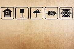 Brown paper box. Safety icon on paper box background brown paper royalty free stock photography