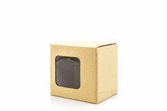 Brown paper box with transparent window. Royalty Free Stock Images