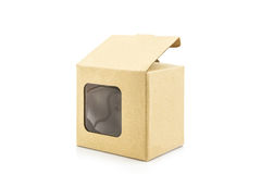 Brown paper box with transparent window. Stock Photography