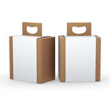 Brown paper box with white wrap and handle packaging,clipping pa Royalty Free Stock Images