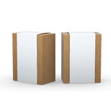 Brown paper box with white wrap packaging,clipping path included Stock Image