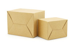 Two Brown Paper Boxes Stock Photos