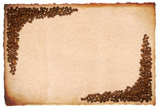 Brown paper with coffee beans Stock Photos