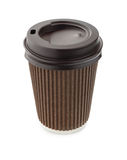 Brown paper coffee cup with cover isolated on white Stock Photography