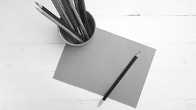 Brown paper and color pencil black and white color style Royalty Free Stock Photography