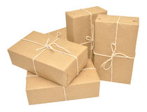 Brown Paper Covered Parcels Tied With String Stock Photo