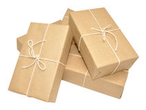 Brown Paper Covered Parcels Tied With String Stock Images