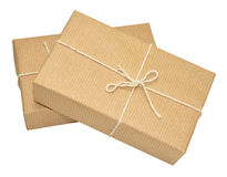 Brown Paper Covered Parcels Tied With String Stock Photos