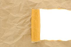 Brown paper crumpled torn with copy space for text Royalty Free Stock Images