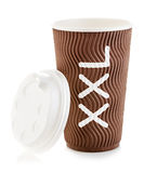 Brown paper cup of coffee or tea close-up isolated on white background. Stock Photos