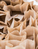 Brown paper disposable bags in the pile Stock Photo