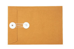 Brown paper envelope. Blank business brown paper envelope backside on isolated Stock Photo
