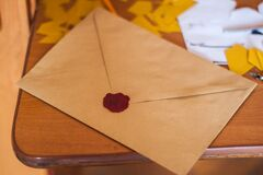 Brown Paper Envelope on Table Royalty Free Stock Photo
