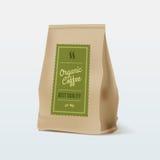 Brown Paper Food Bag Package Of Coffee. Vector mockup Template. Vector packaging design. Royalty Free Stock Photo